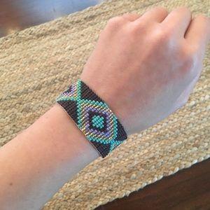 Beaded Multi Color Navaho Printed Bracelet